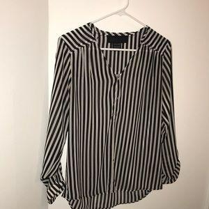 Stripe Black White Long Sleeve Blouse